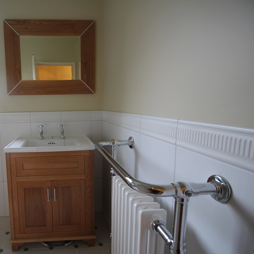 Towel rail and sink of high end bathroom Almondsbury