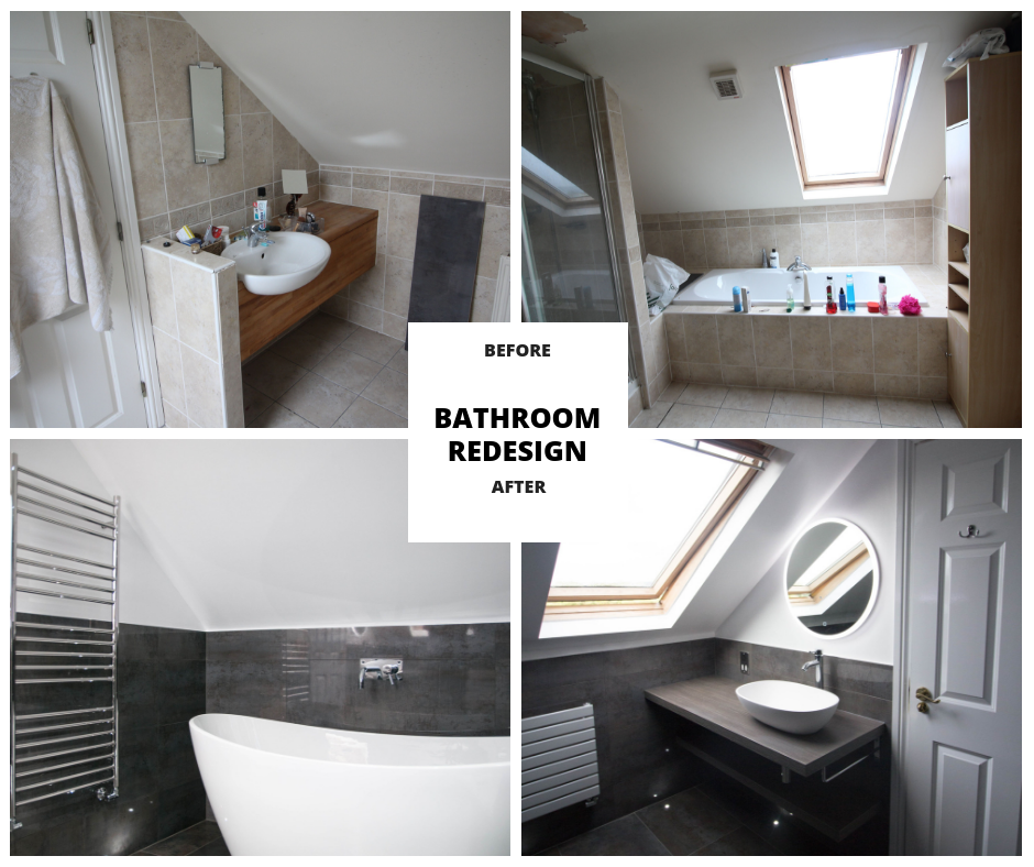Bathroom redesign before and after