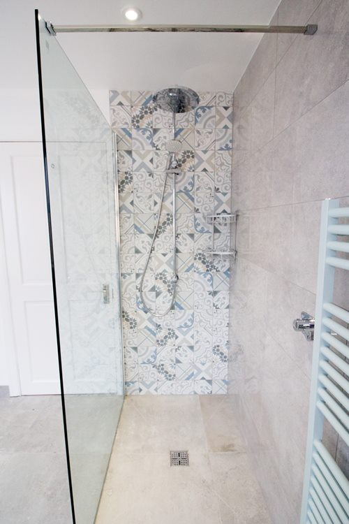 shower with statement tiles