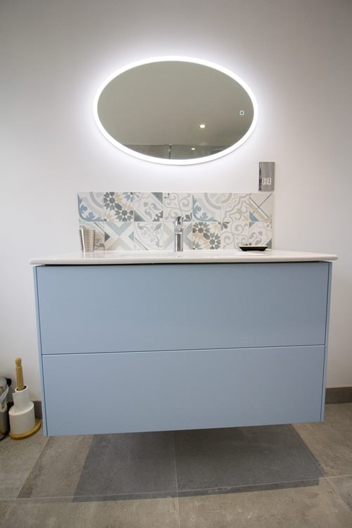 sink and drawers with statement tiles
